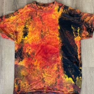 Vintage hand painted flame lava t shirt